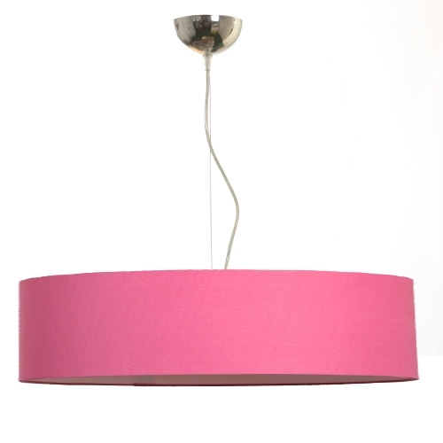 suspension cylindre coton rose tendre