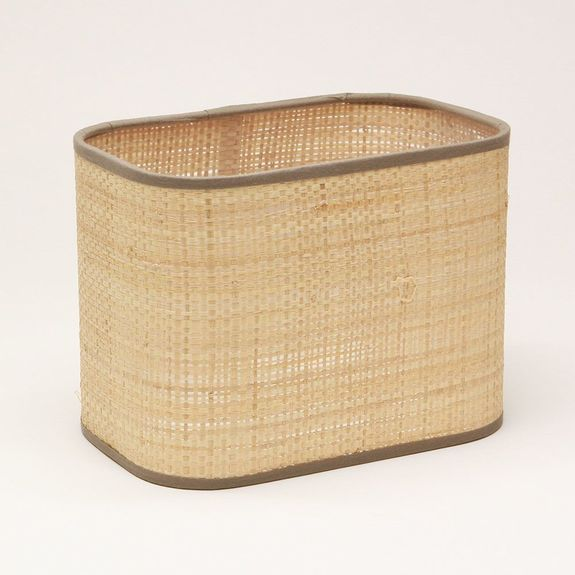 Abat-jour rectangle angle rond en raffia brun