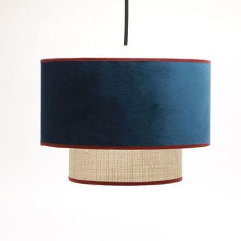 Suspension Baron en velours raffia bleu