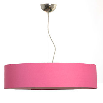 Suspension cylindre rose tendre en coton