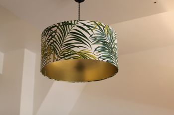 Abat-jour rond collection jungle sur pvc or à poser ou suspendre