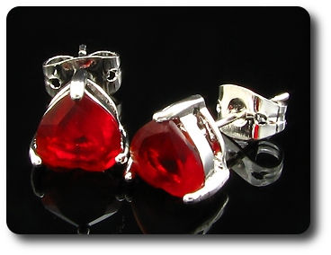 2x7mm Red Ruby Earring