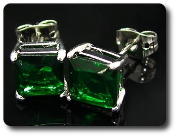 2x7mm Green Emerald Earrings
