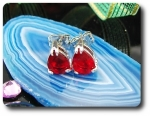 2x8mm Red Ruby Earring