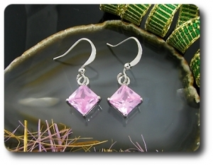2x5mm Pink Sapphire Earrings