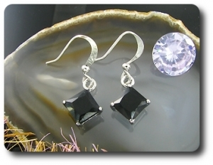 2x5mm Black Sapphire Earrings