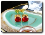 2x7mm Red Ruby Earrings