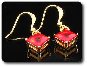 2x6mm Red Ruby Earrings