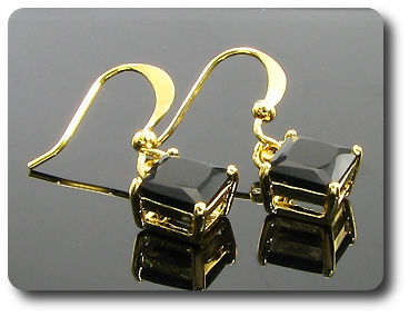 2x6mm Black Sapphire Earrings