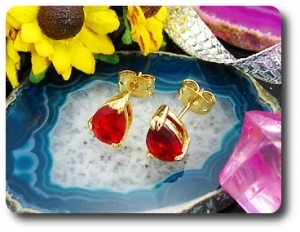 2x8mm Red Ruby Earrings