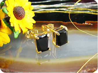 2x8mm Black Sapphire Earrings