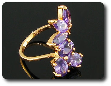 8 x 6mm Purple Amethyst Ring