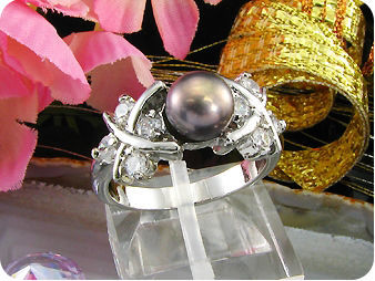 8mm Black Cultured Pearl Ring