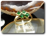 4 x 5mm Green Emeralds Princess Cut Gold Ring