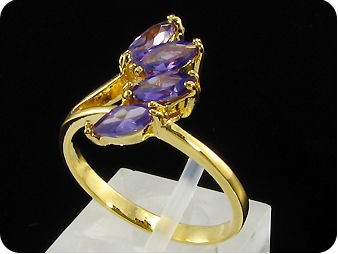 4x6mm Purple Amethyst Marquise Cut Gold Ring