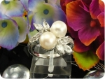 2x8mm White Fresh Water Pearl Ring