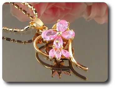 7x5~8mm Lady Pink Sapphire Heart Shape Gold Pendant