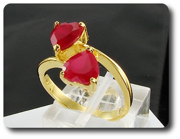 2x8mm Red Ruby Ring