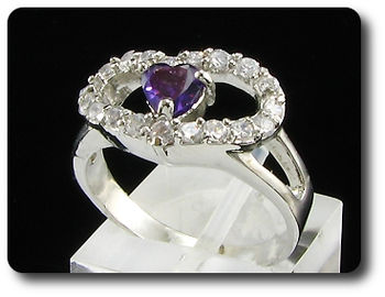 Arresting 5mm Purple Amethyst Heart Cut Ring
