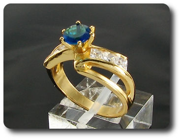 6mm Blue Sapphire Round Cut Gold Ring