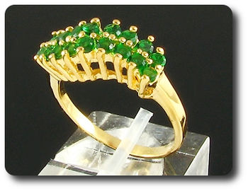 18 x 2mm Green Emerald Round Cut Gold Ring