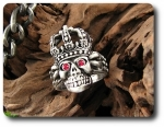 Titanium Lord Skull Ruby Red Eye Crown Style Men Ring