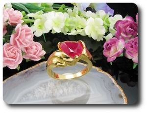 10mm Red Ruby Heart Cut Ring