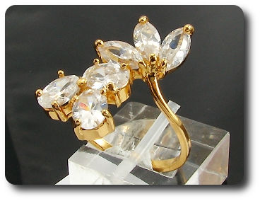 8 x 6mm White Simulated Diamonds Marquise Cut Gold Ring