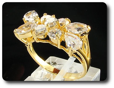 5 x 4mm White Simulated Diamonds Round Cut Gold Ring