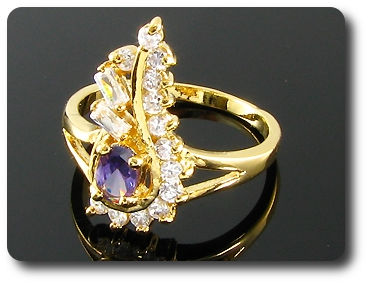 6mm Purple Amethyst Oval Cut Gold Ring
