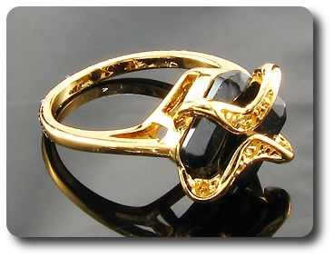 12mm Black Sapphire Princess Cut Gold Ring