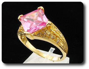 13mm Pink Sapphire White Topaz Gold Lady Men Ring