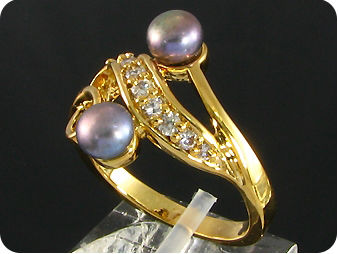 2x6mm Black Cultured Pearl White Topaz Gold Ring