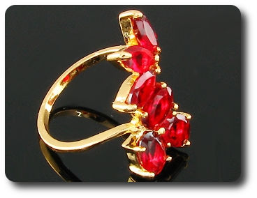8 x 6mm Red Ruby Marquise Cut Gold Ring