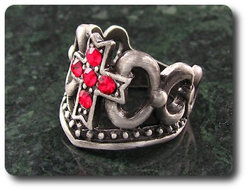 Royal Crown Ruby Cross Ring