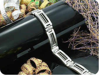 Lavish Cross Pattern Silver Polish Steel Men Bracelet