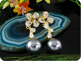 2x12mm Black Fresh Water Pearl Earrings