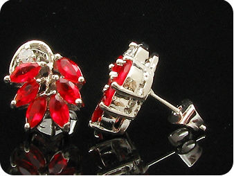 12x5mm Red Rubies Earrings