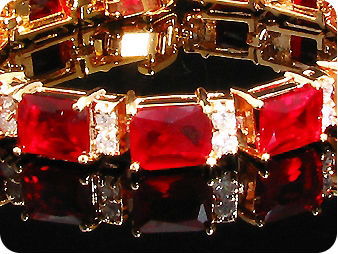 13 x 9mm Red Rubies Bracelet