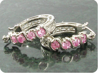 8x3mm Pink Sapphires Earrings