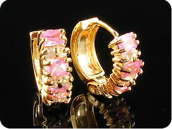 6 x 4mm Pink Sapphire Earrings
