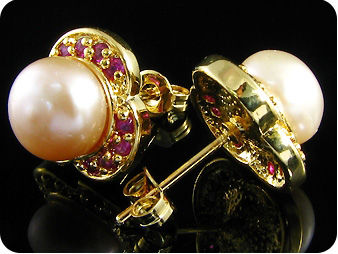 2x9mm Creamy Fresh Water Pearl Red Ruby Gold Earrings