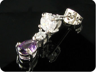2 x 7mm Purple Amethysts Rain Drop Earrings