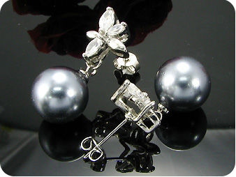 2x12mm Black Fresh Water Pearl Round Cut Earrings