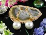 2x12mm White Fresh Water Pearl Topaz Gold Earrings