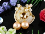 2x12mm Creamy Fresh Water Pearl Topaz Gold Earrings