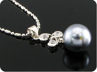 12mm Black Huge Pearl 9x4mm Topaz Pendant Earrings Set