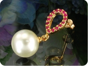 White Pearl 18x3mm Red Ruby Gold Pendant Earrings Set