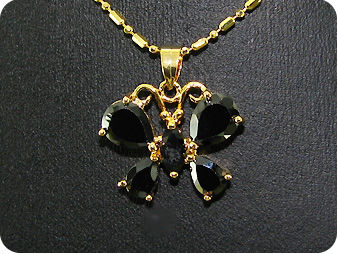 8~10mm Black Sapphire Gold Pendant Earrings Set