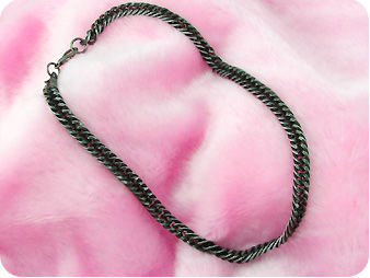 Black Steel Interlocking Men Necklace